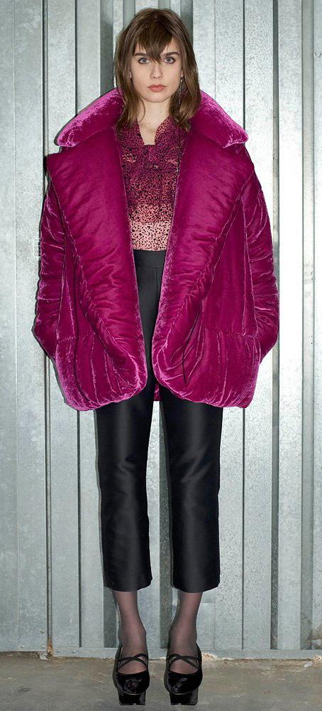 black-slim-pants-black-tights-black-shoe-pumps-pink-magenta-top-blouse-pink-magenta-jacket-coat-puffer-velvet-fall-winter-hairr-dinner.jpg
