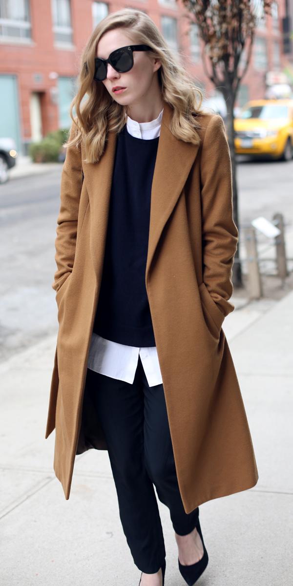 black-slim-pants-white-collared-shirt-black-sweater-sun-black-shoe-pumps-camel-jacket-coat-fall-winter-blonde-work.jpg