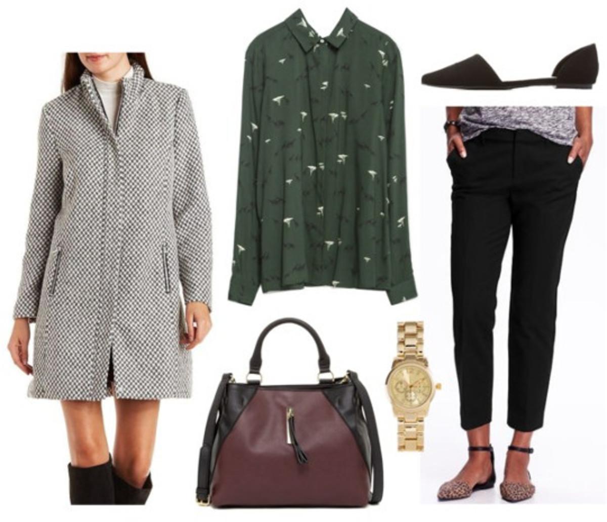 black-slim-pants-green-dark-top-blouse-print-brown-bag-watch-black-shoe-flats-grayl-jacket-coat-howtowear-fashion-style-outfit-fall-winter-work.jpg