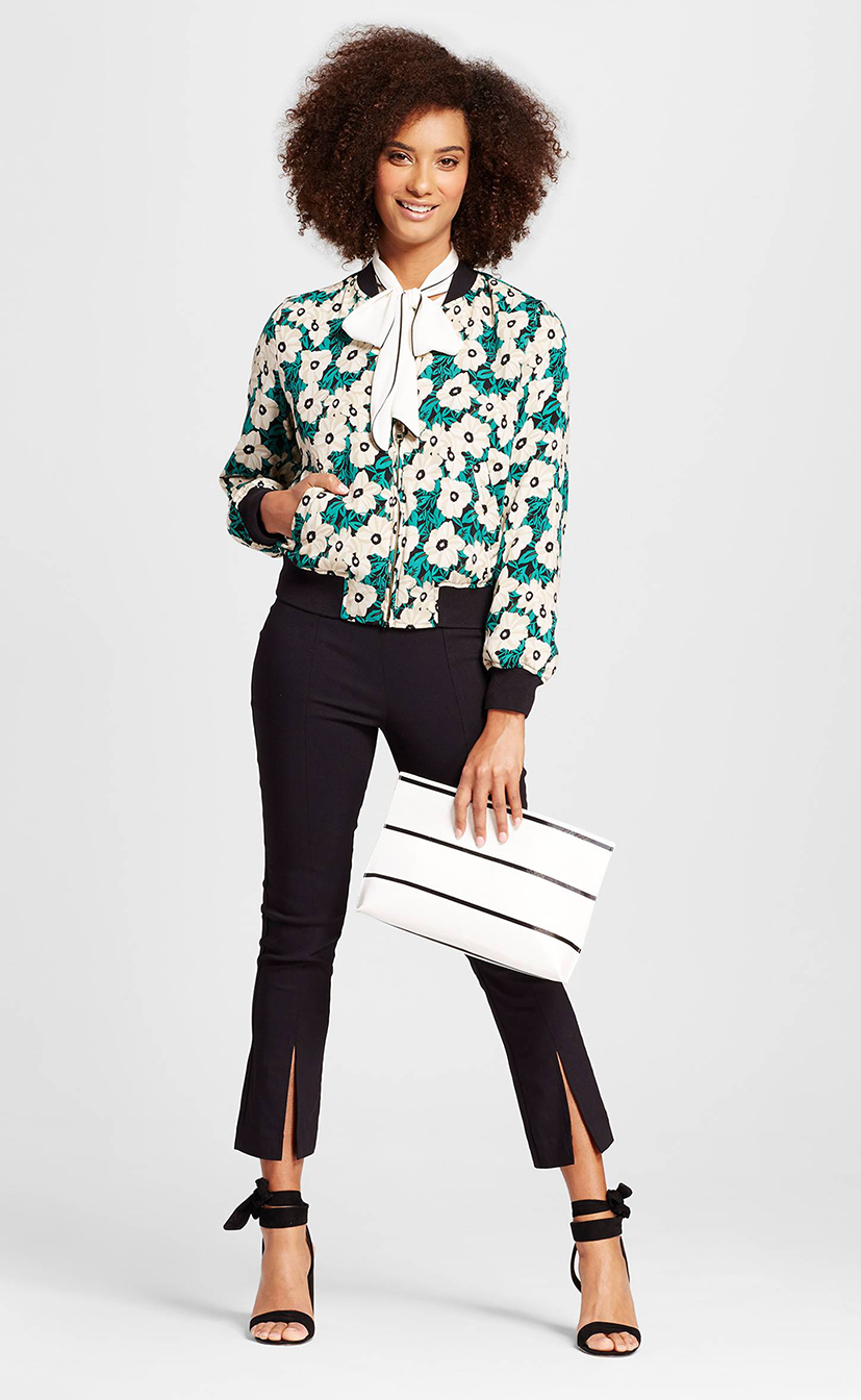 black-slim-pants-white-top-blouse-bow-green-emerald-jacket-bomber-print-white-bag-clutch-black-shoe-sandalh-howtowear-fashion-style-outfit-spring-summer-brun-lunch.jpg