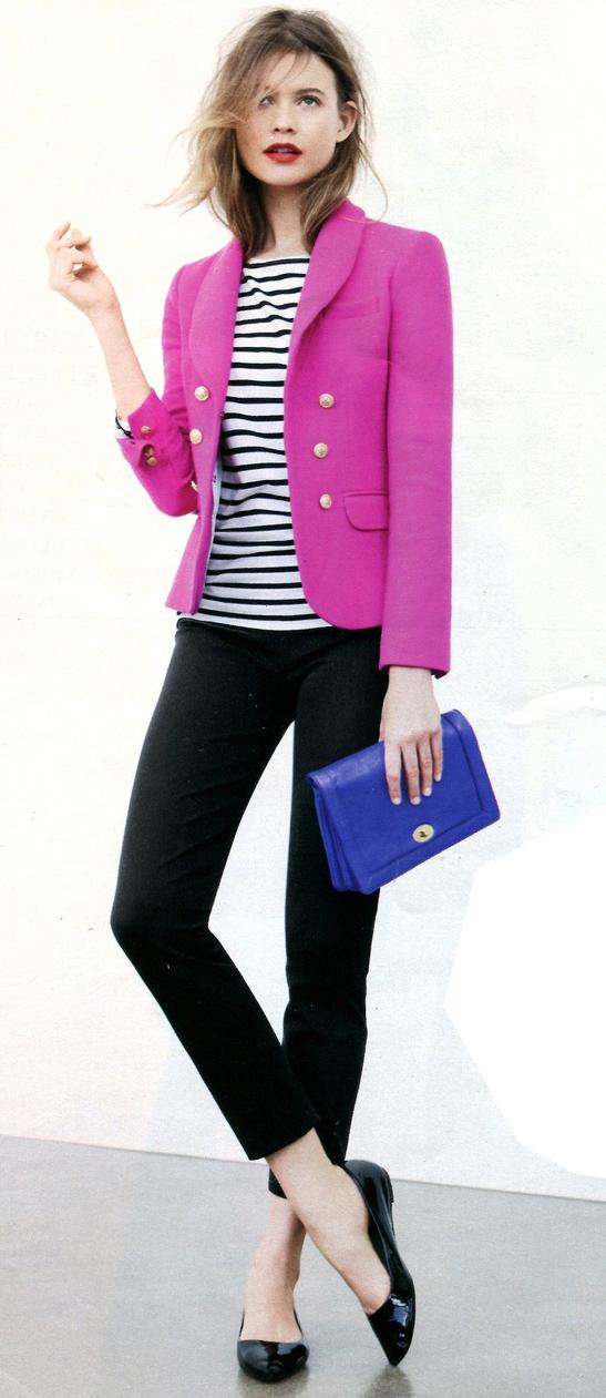 black-slim-pants-black-tee-stripe-pink-magenta-jacket-blazer-black-shoe-flats-blue-bag-jcrew-howtowear-fashion-style-outfit-spring-summer-hairr-work.jpg