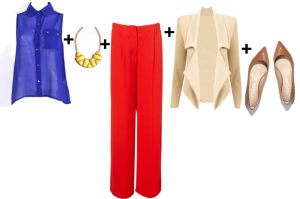 red-wideleg-pants-purple-royal-top-blouse-bib-necklace-white-jacket-moto-spring-summer-tan-shoe-pumps-work.jpg