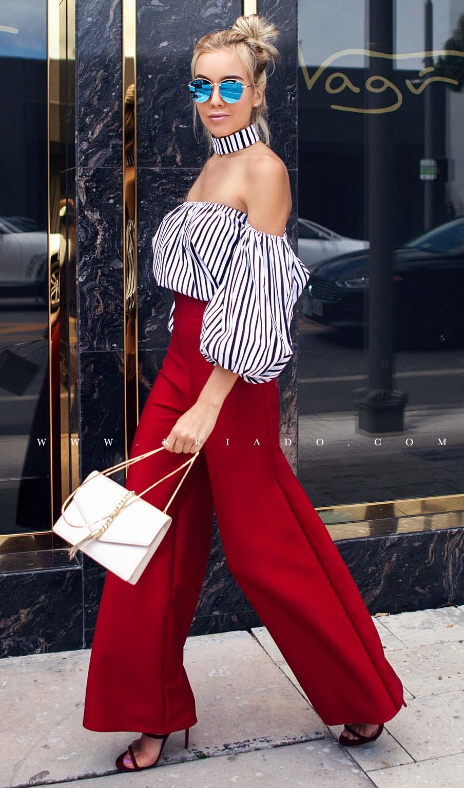 red-wideleg-pants-white-bag-vertical-stripe-bun-sun-white-top-offshoulder-spring-summer-blonde-lunch.jpg