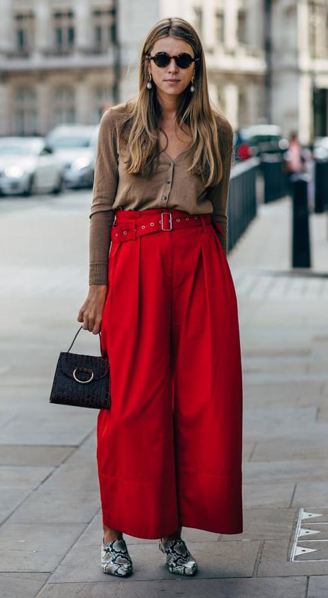 red-wideleg-pants-camel-cardigan-blonde-earrings-gray-shoe-booties-snakeskin-print-trend-spring-summer-lunch.jpg