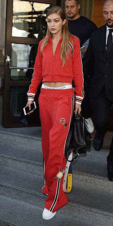 red-wideleg-pants-tracksuit-red-jacket-bomber-blonde-black-bag-white-shoe-sneakers-fall-winter-weekend.jpg