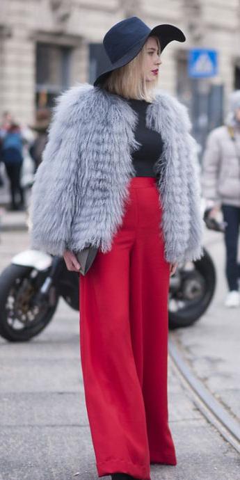 red-wideleg-pants-grayl-jacket-coat-fur-fuzz-black-tee-hat-fall-winter-blonde-lunch.jpg