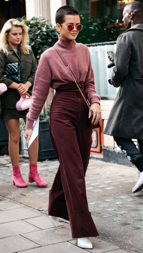 burgundy-wideleg-pants-pink-light-sweater-turtleneck-sun-brun-burgundy-bag-white-shoe-booties-fall-winter-lunch-tonal.jpg