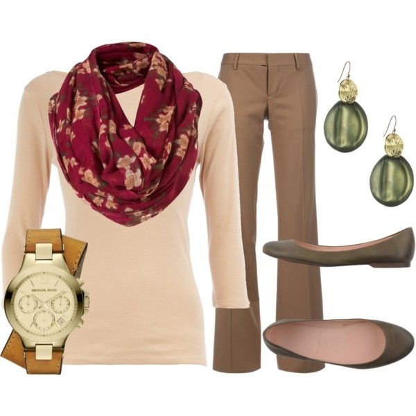 tan-wideleg-pants-tan-sweater-watch-style-outfit-fall-winter-red-scarf-floral-tan-shoe-flats-earrings-watch-work.jpg