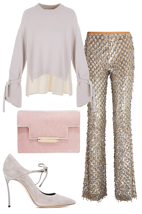 what-to-wear-for-a-winter-wedding-guest-outfit-tan-wideleg-pants-gold-white-sweater-pink-bag-clutch-white-shoe-pumps-dinner.jpg