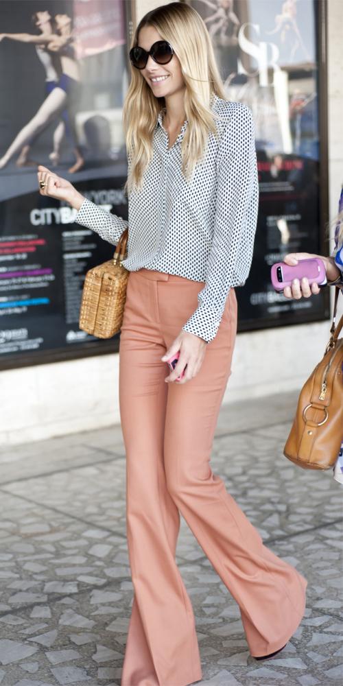 peach-wideleg-pants-white-top-blouse-dot-print-sun-tan-bag-straw-spring-summer-blonde-work.jpg