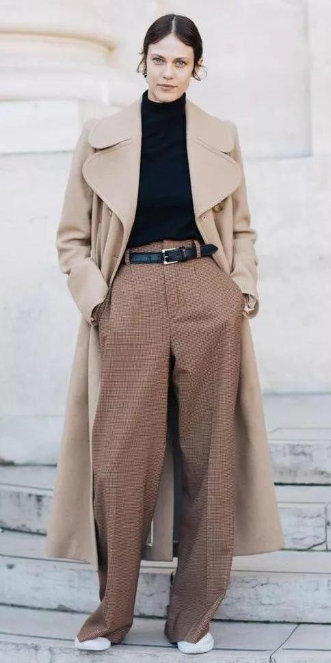 camel-wideleg-pants-belt-black-sweater-turtleneck-tan-jacket-coat-hairr-pony-white-shoe-sneakers-fall-winter-weekend.jpeg
