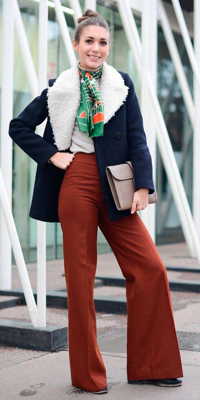 camel-wideleg-pants-green-emerald-scarf-bun-blue-navy-jacket-coat-shearling-fall-winter-hairr-dinner.jpg
