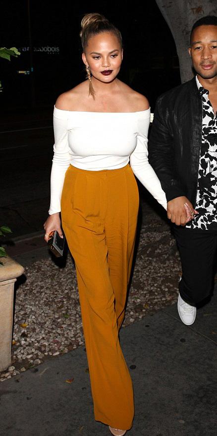 orange-wideleg-pants-braid-chrissyteigen-white-top-offshoulder-spring-summer-hairr-dinner.jpg