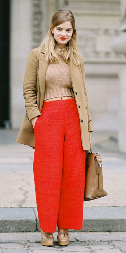 orange-wideleg-pants-tan-sweater-tan-shoe-pumps-tan-jacket-coat-fall-winter-blonde-lunch.jpg
