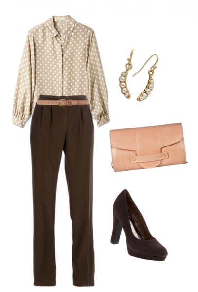 o-brown-wideleg-pants-tan-top-blouse-belt-earrings-tan-bag-clutch-brown-shoe-pumps-howtowear-fashion-style-outfit-fall-winter-dot-work.jpg