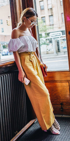 yellow-wideleg-pants-white-top-offshoulder-hairr-sun-red-bag-pony-spring-summer-lunch.jpg