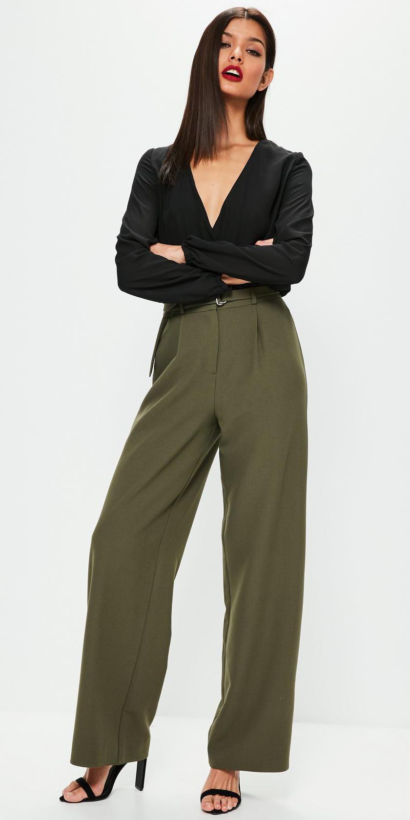 c019ce7216a7b6 green-olive-wideleg-pants-black-top-blouse-black-