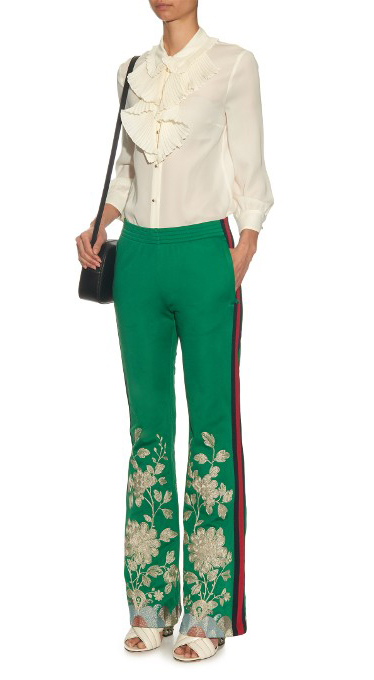 green-emerald-wideleg-pants-trackpants-white-top-blouse-floral-white-shoe-sandalh-fall-winter-dinner.jpg