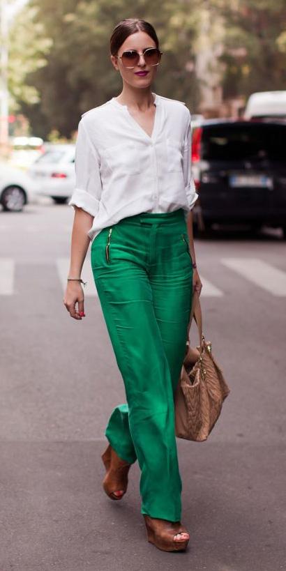 f72c92a65a522a green-emerald-wideleg-pants-cognac-shoe-sandalw-tan-