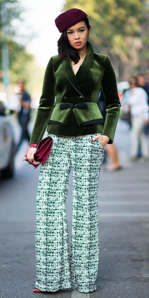 0cc3ad02fa6fac green-emerald-wideleg-pants-tweed-green-olive-jacket-