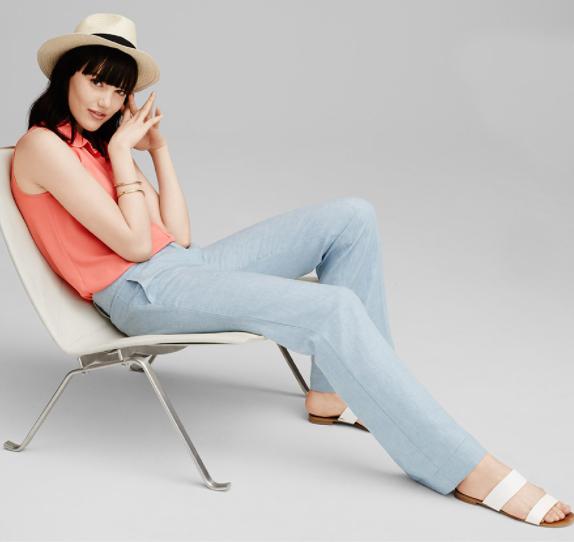 blue-light-wideleg-pants-o-peach-top-blouse-hat-panama-loft-howtowear-style-fashion-spring-summer-white-shoe-sandals-hat-brun-weekend.jpg