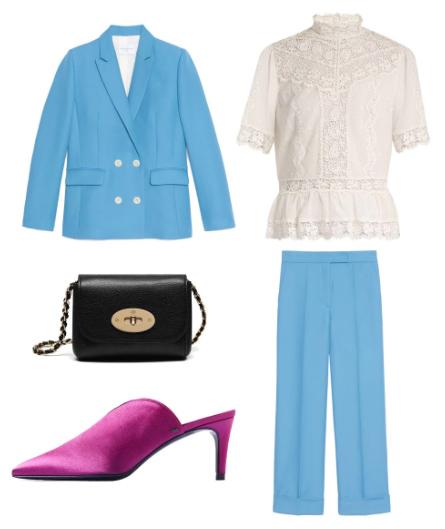 what-to-wear-for-a-summer-wedding-guest-outfit-blue-light-wideleg-pants-white-top-blouse-peasant-blue-light-jacket-blazer-suit-black-bag-magenta-shoe-pumps-dinner.jpg