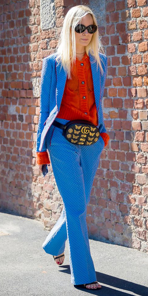 blue-med-wideleg-pants-orange-cardigan-black-bag-fannypack-suit-blue-med-jacket-blazer-sun-blonde-black-shoe-sandalh-fall-winter-lunch.jpg