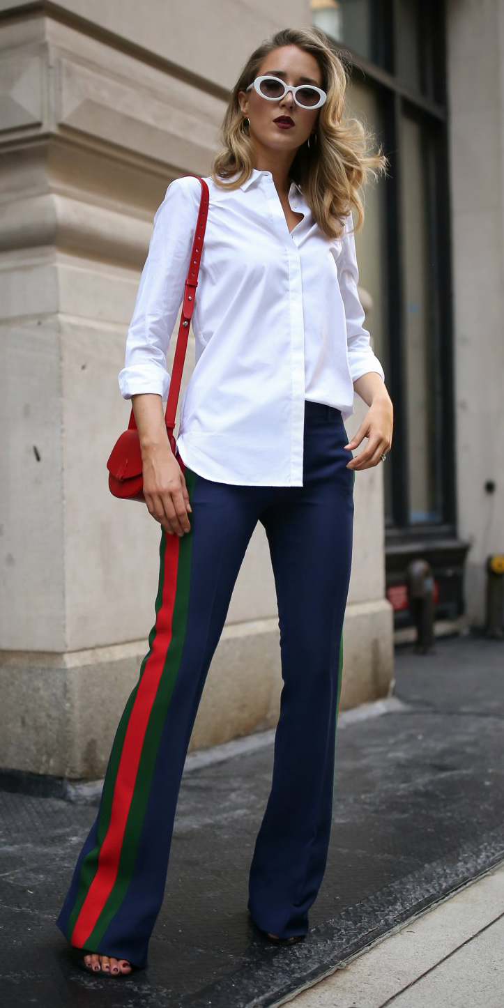 blue-navy-wideleg-pants-trackpants-white-collared-shirt-red-bag-blonde-sun-fall-winter-lunch.jpg