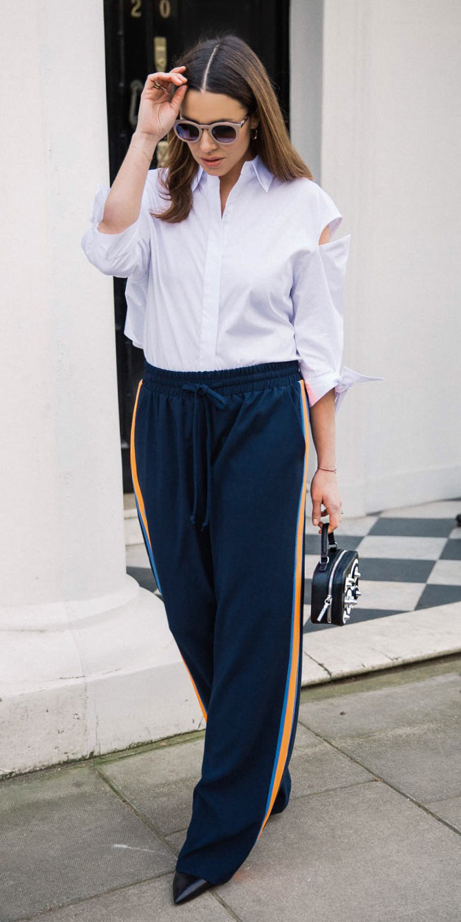 blue-navy-wideleg-pants-white-collared-shirt-hairr-sun-trackpants-black-bag-black-shoe-booties-fall-winter-lunch.jpg