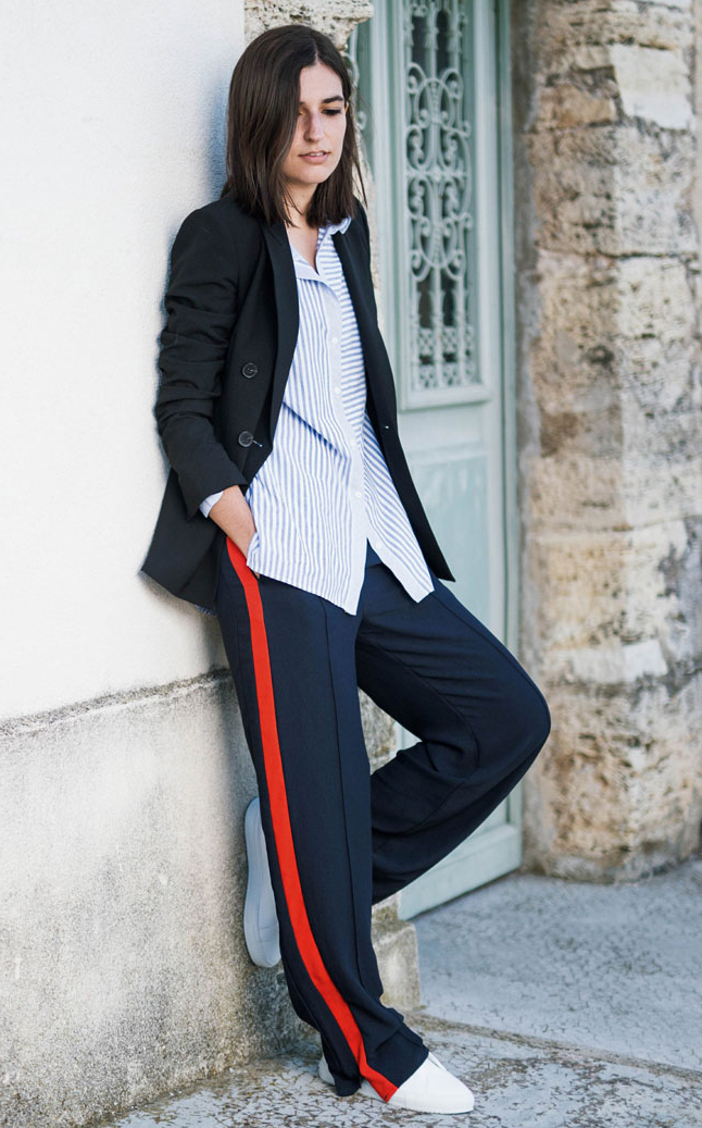 blue-navy-wideleg-pants-black-jacket-blazer-blue-light-collared-shirt-brun-white-shoe-sneakers-trackpants-fall-winter-weekend.jpg