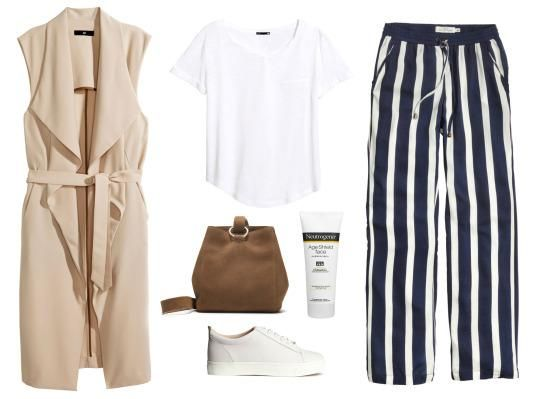 blue-navy-wideleg-pants-vertical-stripe-white-tee-tan-vest-utility-white-shoe-sneakers-cognac-bag-spring-summer-weekend.jpg
