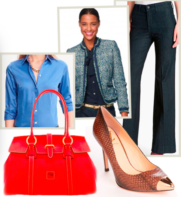 blue-navy-wideleg-pants-blue-med-collared-shirt-blue-med-jacket-lady-red-bag-hand-denim-full-howtowear-style-fashion-fall-winter-tweed-brown-shoe-pumps-work.jpg