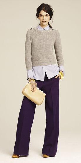 purple-royal-wideleg-pants-tan-sweater-purple-light-collared-shirt-pony-fall-winter-layer-brun-work.jpg