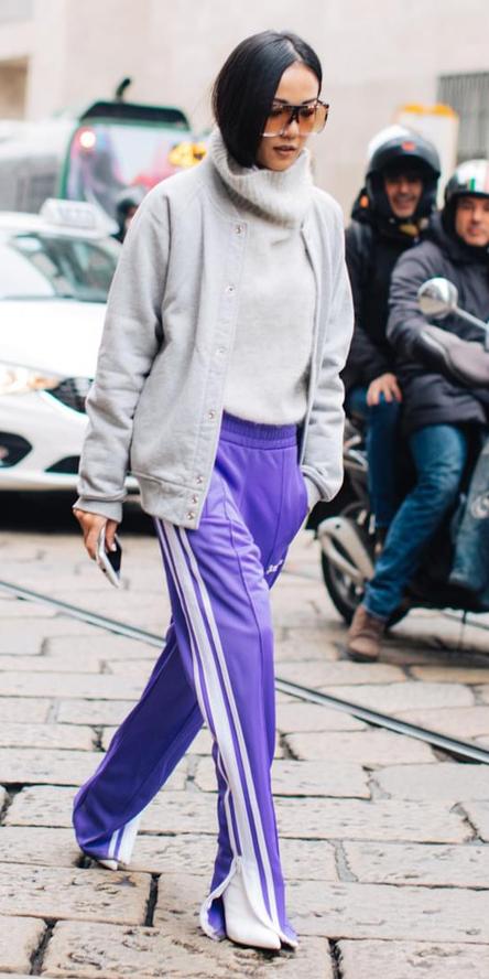 purple-royal-wideleg-pants-trackpants-white-sweater-turtleneck-brun-sun-white-shoe-booties-grayl-jacket-bomber-fall-winter-lunch.jpg