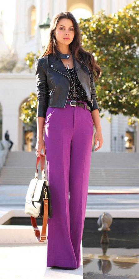 purple-royal-wideleg-pants-black-top-print-dot-black-jacket-moto-black-bag-fall-winter-brun-lunch.jpg