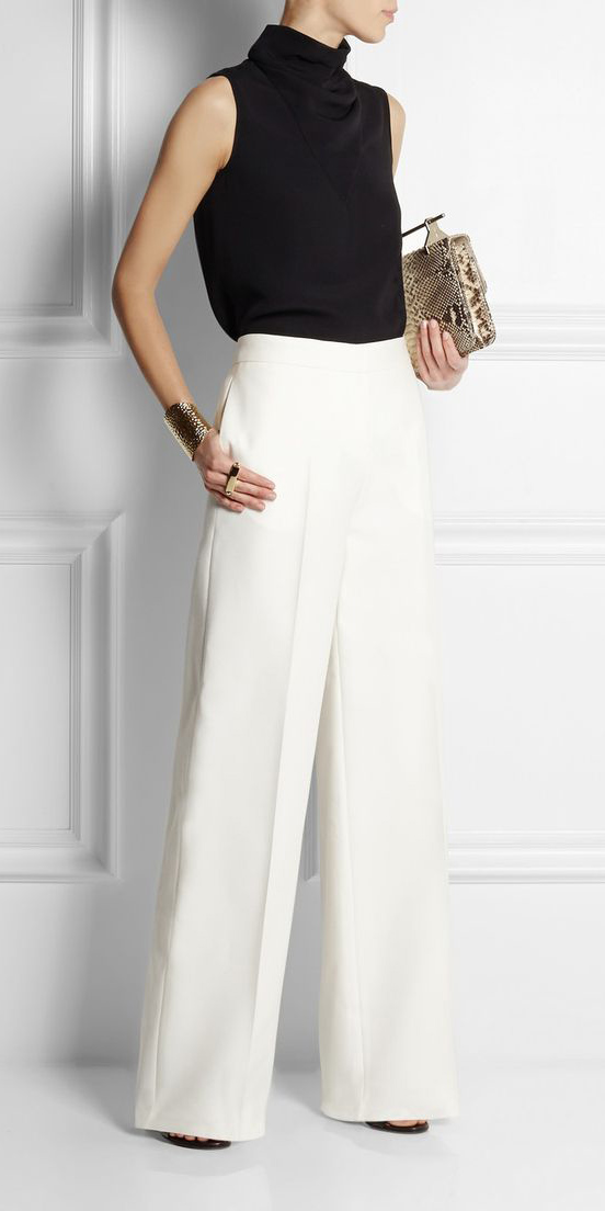 white-wideleg-pants-black-top-turtleneck-bracelet-tan-bag-clutch-spring-summer-dinner.jpg