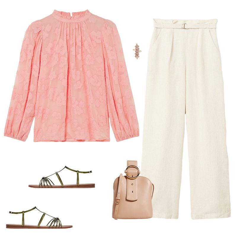 how-to-style-white-wideleg-pants-tan-bag-ring-peach-top-blouse-peasant-green-shoe-sandals-spring-summer-fashion-lunch.jpg