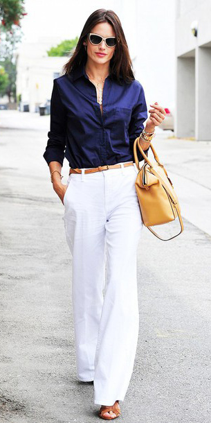 white-wideleg-pants-blue-navy-collared-shirt-tan-bag-belt-cognac-shoe-sandalh-spring-summer-brun-work.jpg