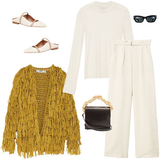 white-wideleg-pants-yellow-cardigan-white-shoe-flats-black-bag-sun-white-tee-fall-winter-lunch.jpg