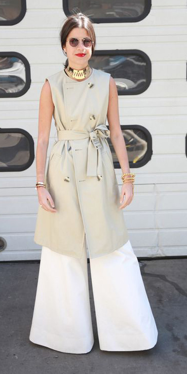 white-wideleg-pants-tan-vest-utility-trench-brun-sun-choker-bracelet-pony-spring-summer-dinner.jpg