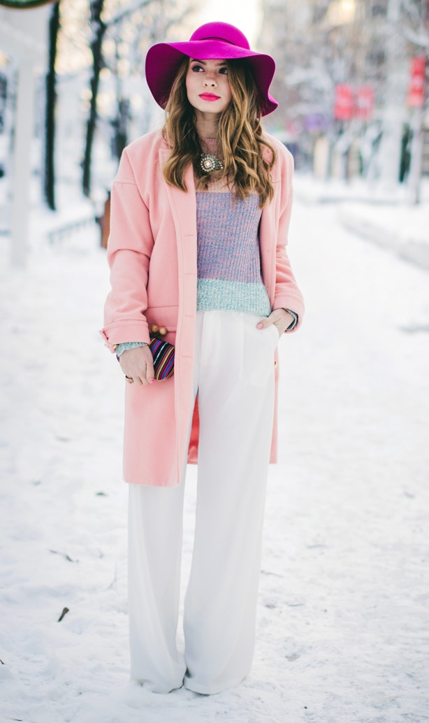 white-wideleg-pants-purple-light-sweater-pink-light-jacket-coat-hairr-hat-bib-necklace-pastel-snow-fall-winter-lunch.jpg