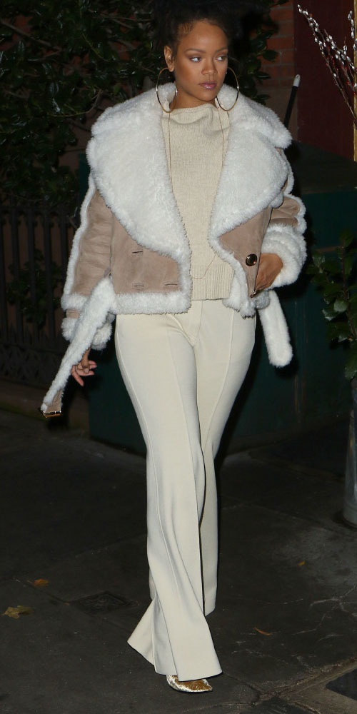 white-wideleg-pants-white-sweater-hoops-shearling-bun-rihanna-tan-coat-jacket-moto-fall-winter-brun-dinner.jpg