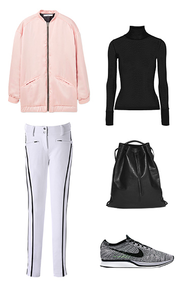 white-wideleg-pants-skipants-black-sweater-turtleneck-gray-shoe-sneakers-black-bag-pink-light-jacket-bomber-fall-winter-weekend.jpg