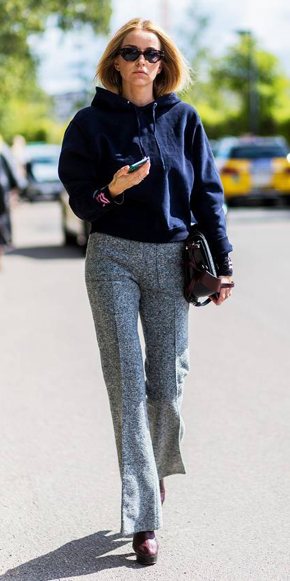 grayl-wideleg-pants-blue-navy-sweater-sweatshirt-blonde-sun-burgundy-shoe-pumps-fall-winter-work.jpg