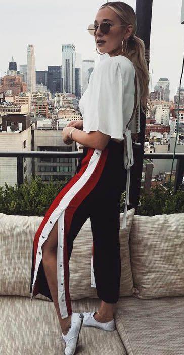black-wideleg-pants-trackpants-white-top-hoops-sun-blonde-pony-white-shoe-sneakers-spring-summer-lunch.jpg
