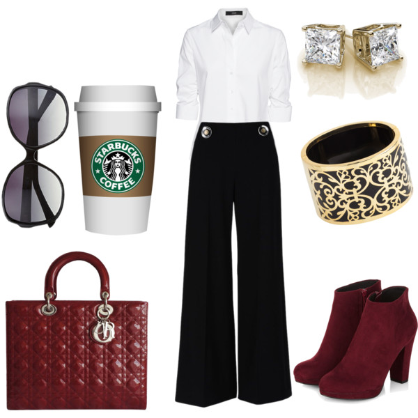 black-wideleg-pants-white-collared-shirt-bracelet-studs-sun-burgundy-shoe-booties-red-bag-fall-winter-work.jpg