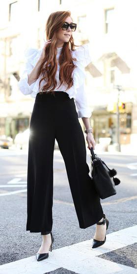 black-wideleg-pants-palazzo-white-collared-shirt-sun-black-bag-black-shoe-pumps-fall-winter-hairr-work.jpg