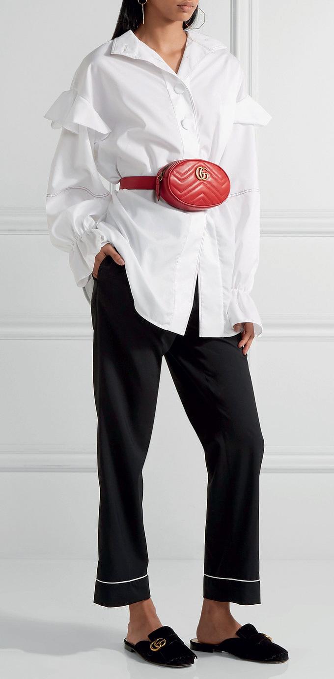 black-wideleg-pants-white-collared-shirt-red-bag-fannypack-black-shoe-flats-fall-winter-lunch.jpg