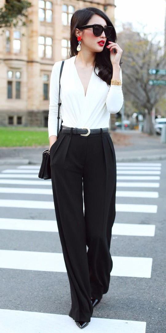 black-wideleg-pants-white-top-belt-black-bag-style-fall-winter-black-shoe-pumps-jewel-red-earrings-sun-brun-work.jpg
