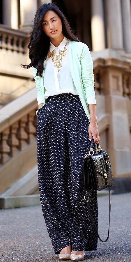 black-wideleg-pants-white-top-blouse-bib-necklace-green-light-cardigan-polkadot-print-brun-black-bag-tan-shoe-pumps-spring-summer-work.jpg